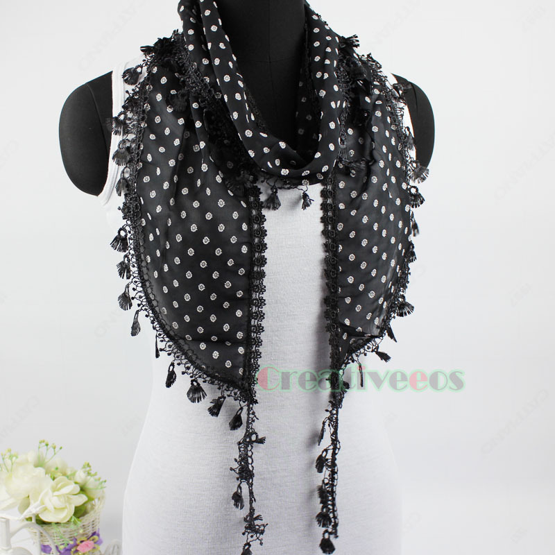 Summer Stylish Fashion Women's Floral Lace Trim Tassel Long Small Wrap Scarf Shawl New(China (Mainland))