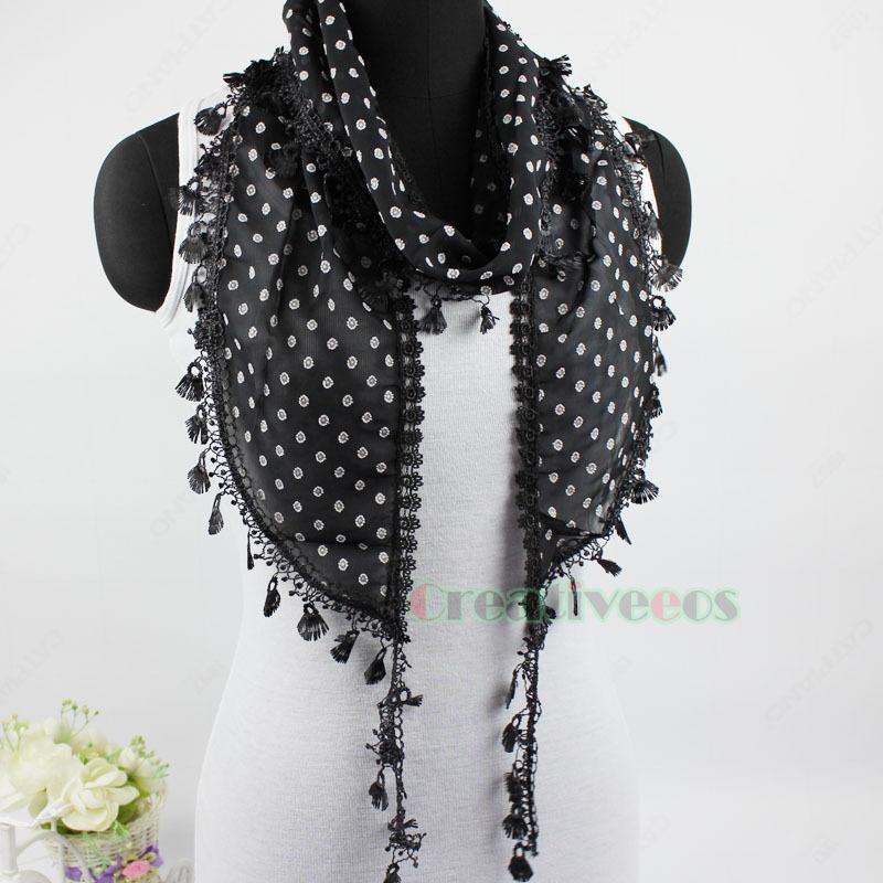 Summer Stylish Fashion Women's Floral Lace Trim Tassel Long Small Wrap Scarf Shawl New(China (Mainland))
