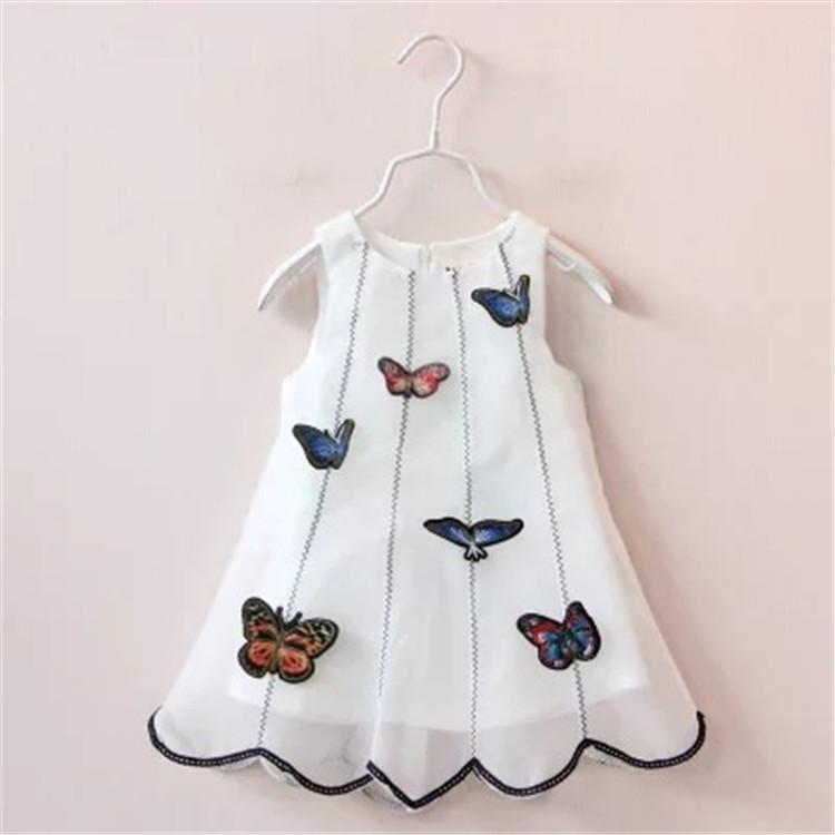 2016 Kids summer Children Girls Cartoon Butterfly Dress Baby Yarn TUTU Princess Dress Toddler Sleevelss white A Sundress(China (Mainland))