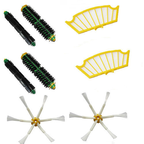 Brand New Plastic Brush & Filter kit for iRobot Roomba 500 Series 510 520 530 550 540 580 6 armed Sides Brush Free Shipping(China (Mainland))