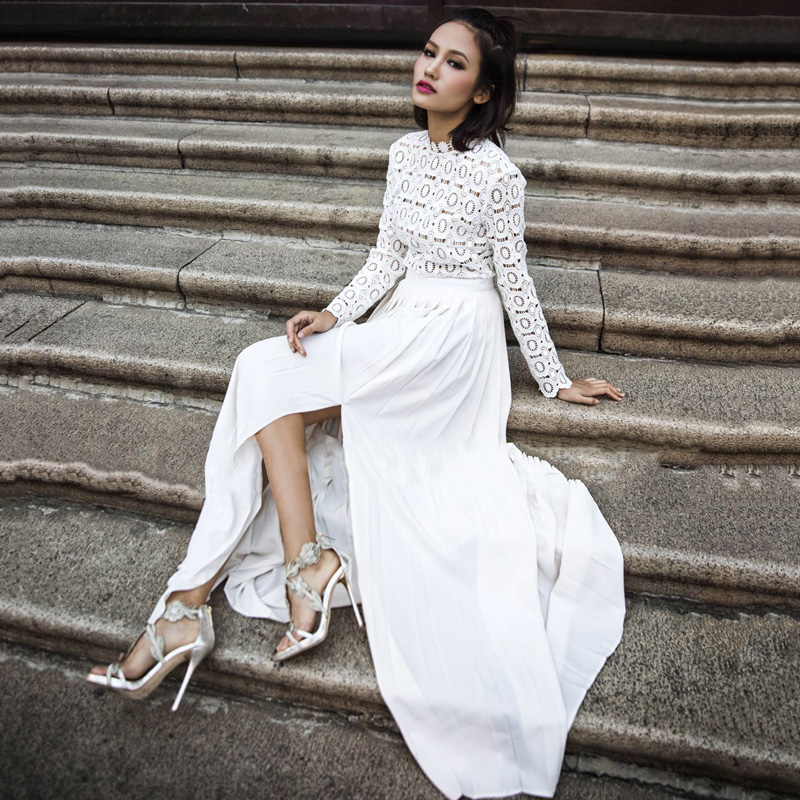 2016 new arrival self portrait vintage long sleeve white for Self portrait wedding dress
