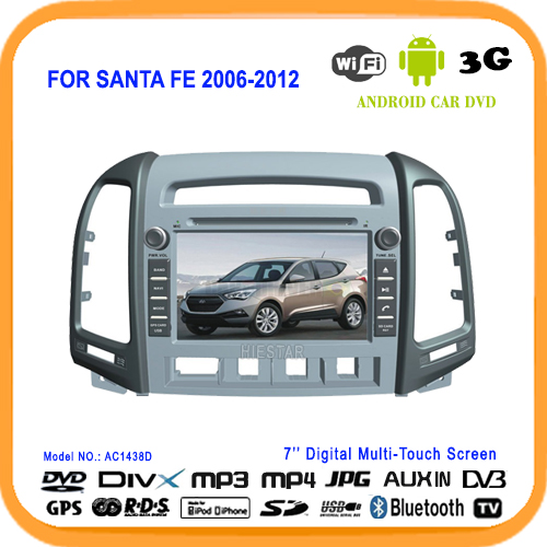 MP5 Car DVD GPS player 7''Mutli-Touch Screen Android 5.1 System WIFI Quad Band All in one For HYUNDAI SANTA FE Santafe 2006-2012(Hong Kong)