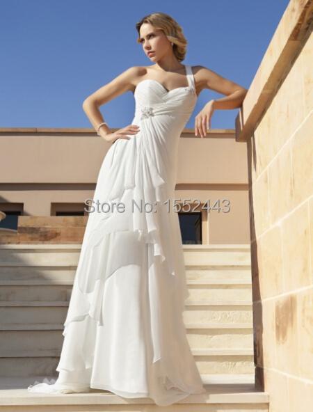 One shoulder exquisite beach wedding dresses sweep train for One shoulder beach wedding dress