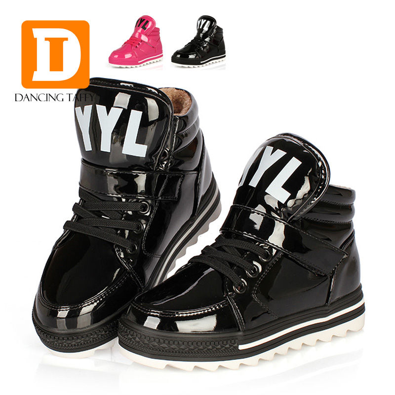 New 2016 Fashion Martin Boots Patent Leather Spring Children Shoes Plush Warm Shoes Winter Boy Girl Snow Boot Kids Sneaker 431(China (Mainland))