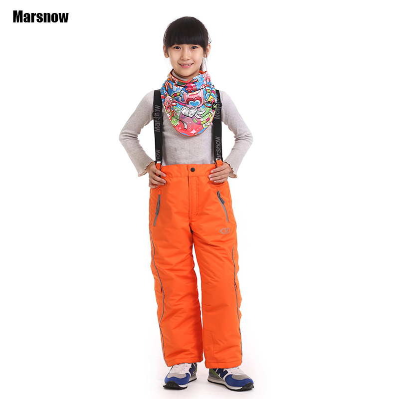 Dropshipping new winter Thicken boys girls windproof kids waterproof skiing trousers snowboarding pants for children(China (Mainland))