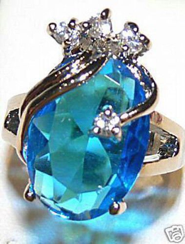 Faceted Blue and White Crystal Inlay Wrap Silver Women Cocktail Rings Jewelry(China (Mainland))