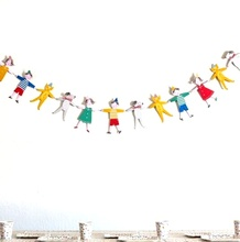 2.5m Cartoon Characters Dogs Cats Bunting String Flags/Garland Space Decoration Wedding Festival Home Birthday Boy Girl Showers(China (Mainland))