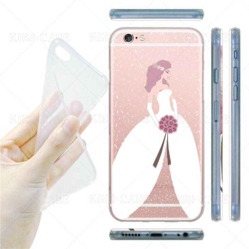 Phone Cases Cover For iPhone 5 5s 7 Plus 6 6s 6plus Romantic Bride Bridegroom Wedding Design Soft Silicon Transparent TPU Cover