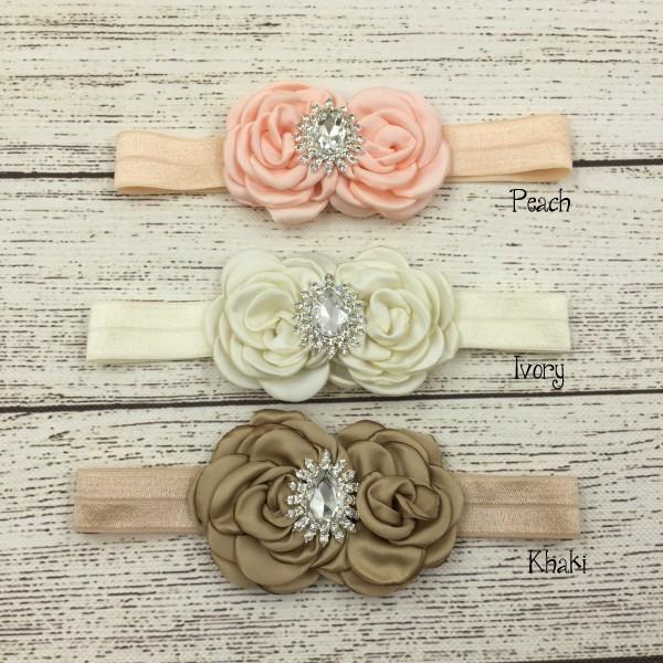 12pcs/lot Double Satin Flower Matching Sparking Rhinestone Headband Baby Headband Luxe Headband(China (Mainland))