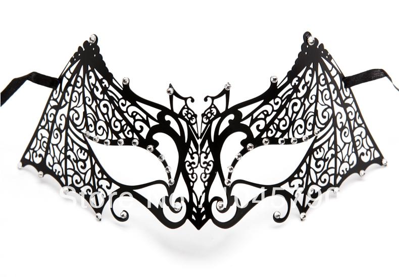 Free 1X Bat Man Mask Design Venetian Metallic Laser Cut Halloween Masquerade Ball Masks Clear Rhinestone