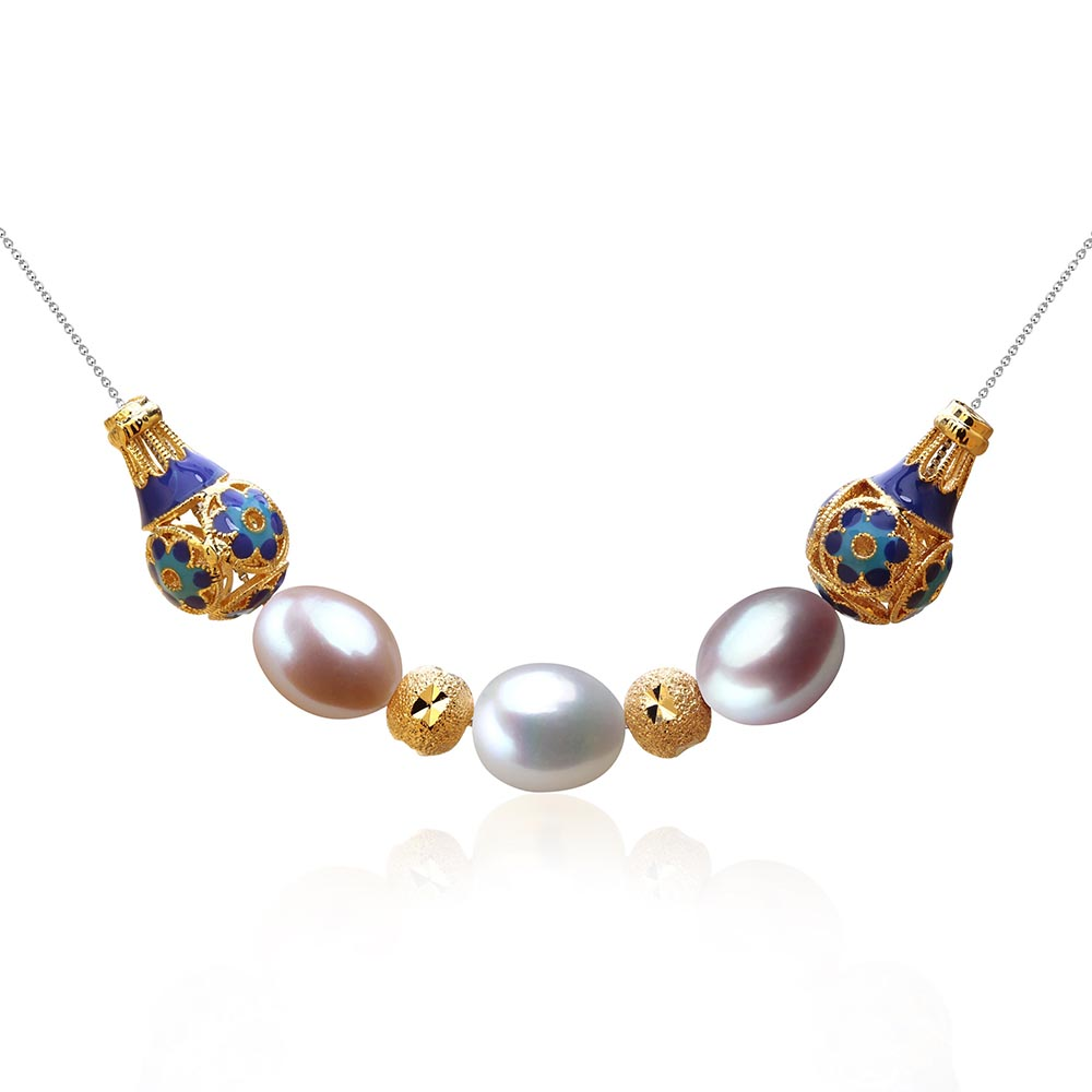 VEAMOR Brand Rose Gold & White Gold Plated Choker Necklace Top Quality Freshwater Pearl Necklace Fashion Jewelry for Women 2017(China (Mainland))