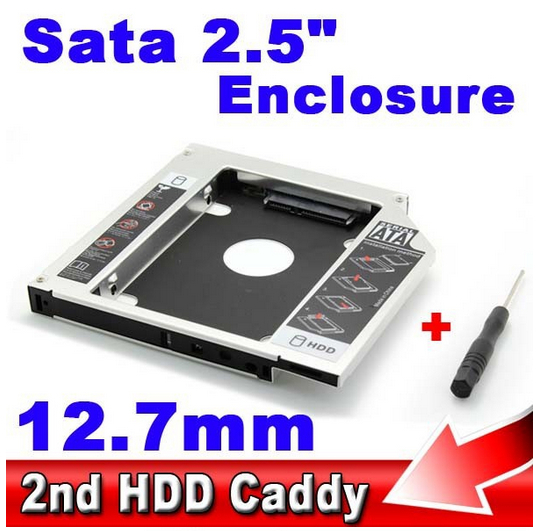 "Universal 2.5"" SSD HDD HD Hard Disk Driver External 12.7mm 2nd Caddy SATA 3.0 Case Enclosure ODD CD DVD ROM Optical Bay Notebook(China (Mainland))"
