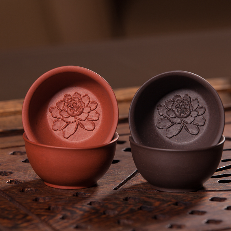 Chinese Yixing Purple Clay Tea Cup Lotus Kung Fu Teacup Handmade Ceramic Art Cup Small Tea Cup Set Cute Gift Craft 6 Mini Cups(China (Mainland))