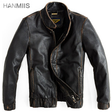 Hanmiis handmade first layer of cowhide leather motorcycle jacket male slim genuine men's clothing outerwear with leather gloves(China (Mainland))