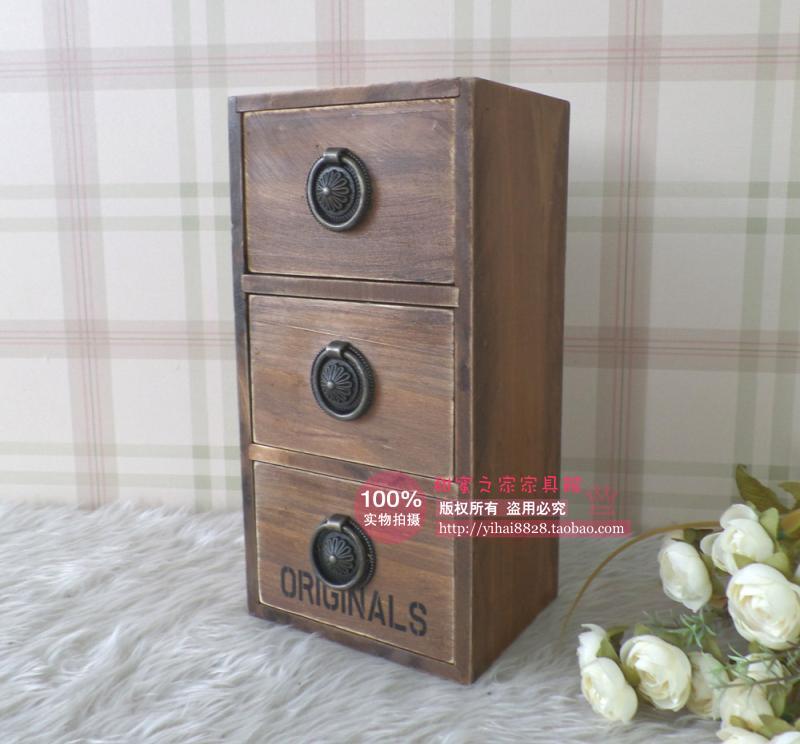 zakka grocery Desktop 3 layer wooden drawer storage box finishing the desktop storage cabinets small lockers(China (Mainland))