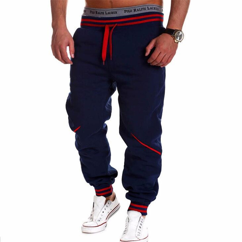 Free shipping 2016 men's leisure letters loose sweatpants printed color matching lace pants jogger outdoor sports pants for men(China (Mainland))