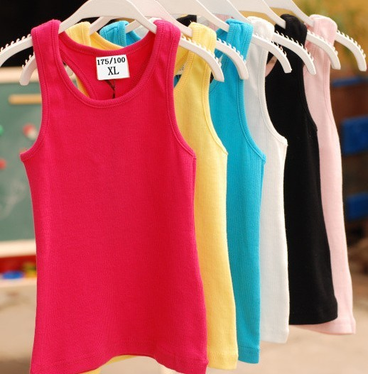 17color 1 age 2-8, 100% cotton boys/girls summer hot lovely candy solid color tank/vest baby/children/kids clothing/wear - Super-Mom store