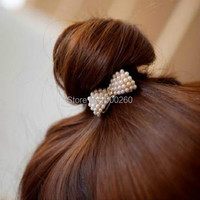 2015 New Style Fashion Lovely Pearl Bow Bowknot Hair Band Hair Clip Elastic Hair Accessories