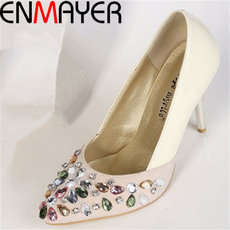 ENMAYERRound Toe Closed round toe pumps women square heel pumps platform pumps fashion Rhinestone shoes 2015 new largesize 34-39<br><br>Aliexpress