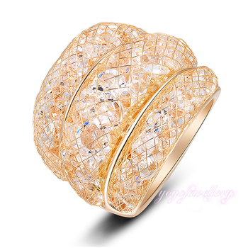 2016 Fashion Stardust Gold Mesh Crystal Ring Size 6 7 8 9 Clear Zircon Statement Rings women R561