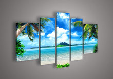 unique gift handmade 5 piece seascape landscape oil painting on canvas wall art blue ocean beach pictures for living room(China (Mainland))