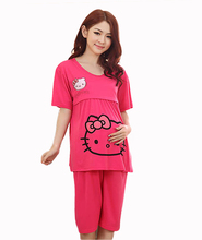 Hello kitty Gray women clothing maternity wear summer dresses for pregnant nursing clothes breast feeding maternity sleepwear
