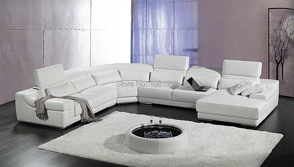 italy top cow grade leather U sofa sectional, corner ...