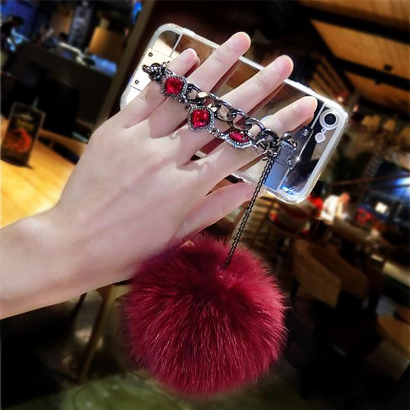 Ultra Soft Fur Ball Cyrstal Chain Mirror Surface Phone Cases Coque Back Cover for iPhone 5s SE 6s 7 Plus for Samsung Galaxy Case