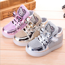 new children lighted casual shoes high rhinestone hello kitty shoes for girls baby kids shoes mesh travel shoes girls boots(China (Mainland))