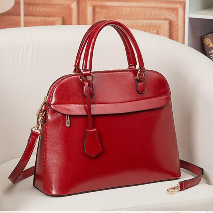 Fashion fashion women's genuine leather shell bag big red one shoulder cross-body handbag - fashional accessories store