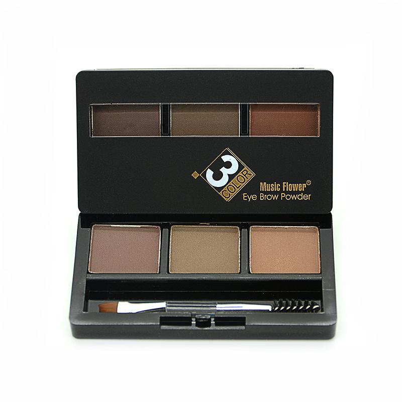 2016 Music Flower Brand Eye Brow Shadow Makeup Kit Set 3 Color Waterproof Eyebrow Powder Make Palette Women Beauty Cosmetic - Rosa Queen Shop store