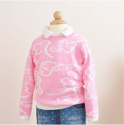 611528 2015 New Girls Sweater Dobby Cloud Full Sleeve Knitting Pullovers Casual Children Clothes Supplier