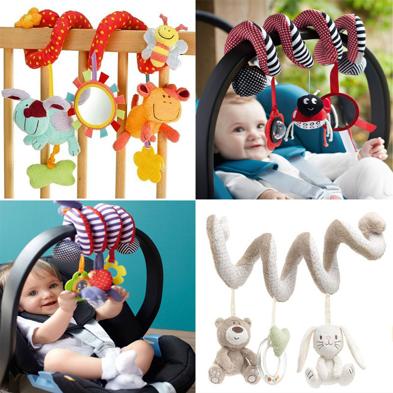 Cute Spiral Activity Stroller Car Seat Cot Lathe Hanging Babyplay Travel Toys Newborn Baby Rattles Infant Toys 2015 New Arrival(China (Mainland))