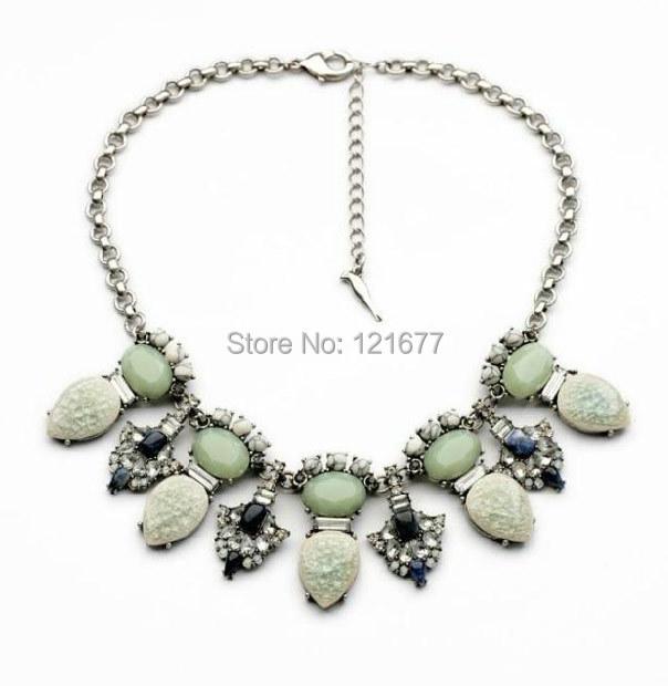 Cheap Costume Jewelry Korean Flowers Choker Big Chunky Necklaces Vintage Gem Stone Handmade Bijoux Women Long N0428(China (Mainland))