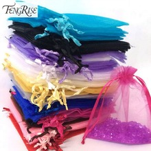 FENGRISE 100ps 10x12cm Jewelry Gift Organza Bags Wedding Favors Candy Pouches Home Party Decoration Crafts Pack Festive Supplies(China (Mainland))