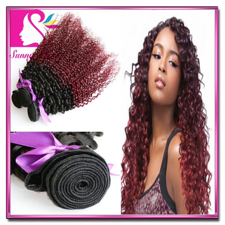 Mongolian Virgin hair 7A Afro Kinky Curly Ombre Hair Extensions 4pc 1B#30 1B#27 1B#99J Remy Human Hair Weave Grace Hair Products