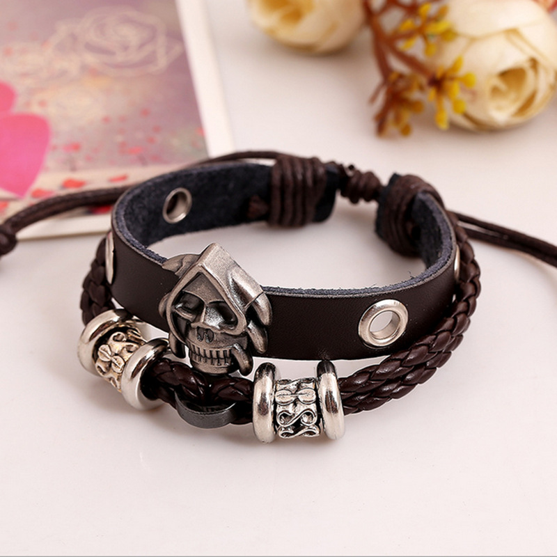 men bracelet leather 2015 skull leather bracelet
