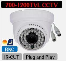 Freeshipping CCTV Camera Mini Dome Security Analog Camera 700TVL 900TVL 1000TVL 1200TVL indoor IR CUT Night Vision Plug and Play(China (Mainland))