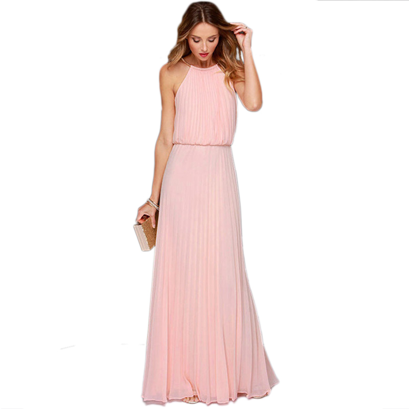 2015 Summer Fashion Chiffon Vestidos Woman Solid Pink Sleeveless Halter Pleated Backless Fashion Designs Maxi Dress C1USE3515(China (Mainland))