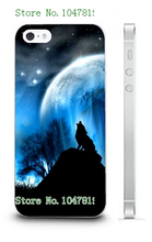 Mobile Phone Case Retail 1pc Wolf And Moon Design Protective White Hard Case Cover For Iphone4 4S Free Shipping