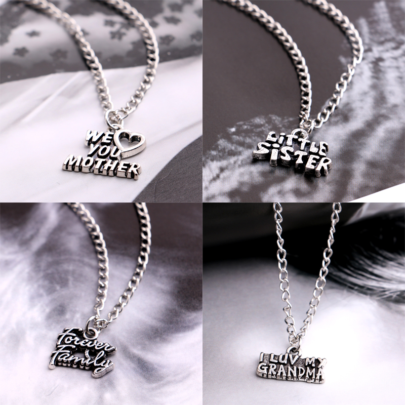 I Love You Mother Silver Chain Pendant Necklace Forever Family Gift Mom Women Jewelry Sister Grandma Necklaces Charm Accessories(China (Mainland))