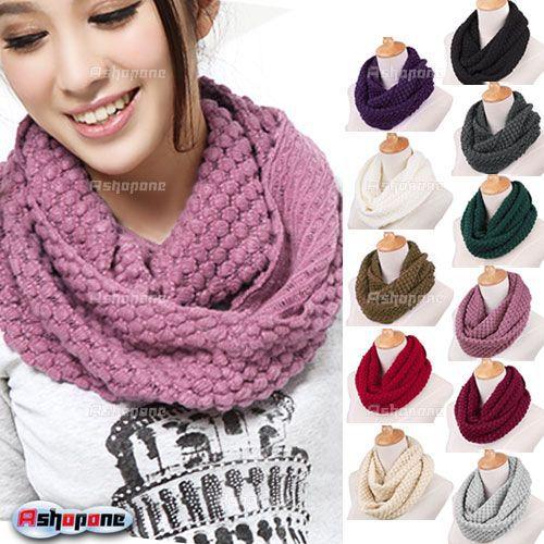 2015 Winter New Fashion Women Warm Knit Neck Circle Wool Cowl Snood Long Scarf Shawl Wrap 11 Color a2(China (Mainland))