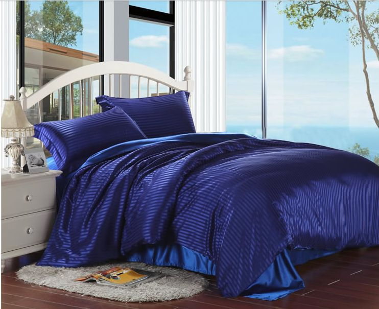 Reactice printing tencel silk bedding set king size home textile solid color luxury blue comforter set bedclothes/bed sheet(China (Mainland))