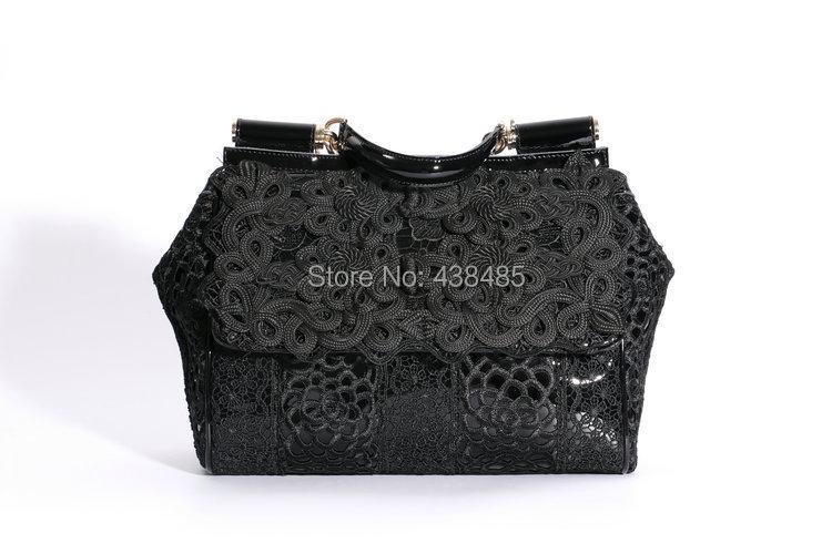 2015 black lace design women shoulder bag genuine leather women's handbags ladies hand tote crossbody bags luxury brand bolsas - China Best Genuine Leather Bag Supplier store