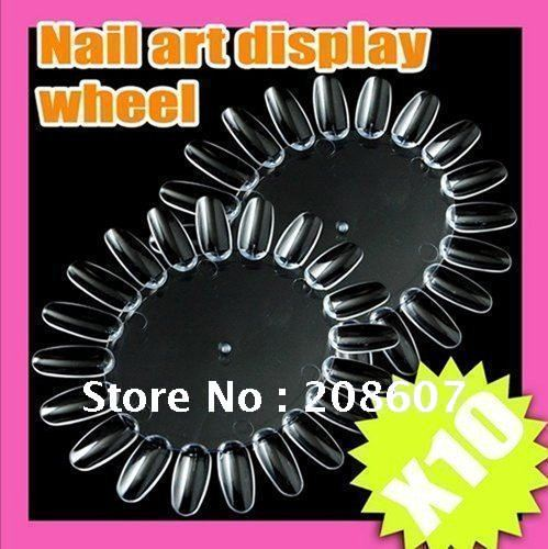 Freeshipping 20plastic nails/wheel Full Cover Clear Transparent Acrylic Style Artificial Tips Nail Art False Nail