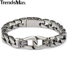Buy Trendsmax 316L Stainless Steel Bracelet Curved Edging Curb Mens Chain Biker Wristband Bangle Wholesale Drop Ship Jewelry HB10 for $8.99 in AliExpress store