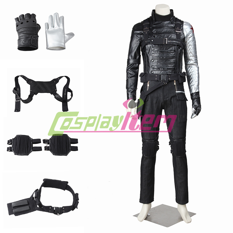 High quality Anime America Movie Captain America The Winter Soldier James Buchanan Barnes Bucky Outfit Adult Cosplay CostumeОдежда и ак�е��уары<br><br><br>Aliexpress
