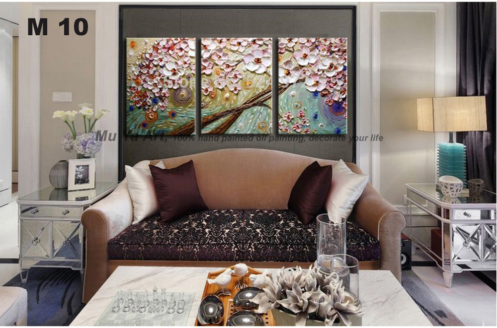 Buy 3 piece canvas wall art abstract modern flower acrylic floral knife wall picture handmade oil painting on canvas living room cheap