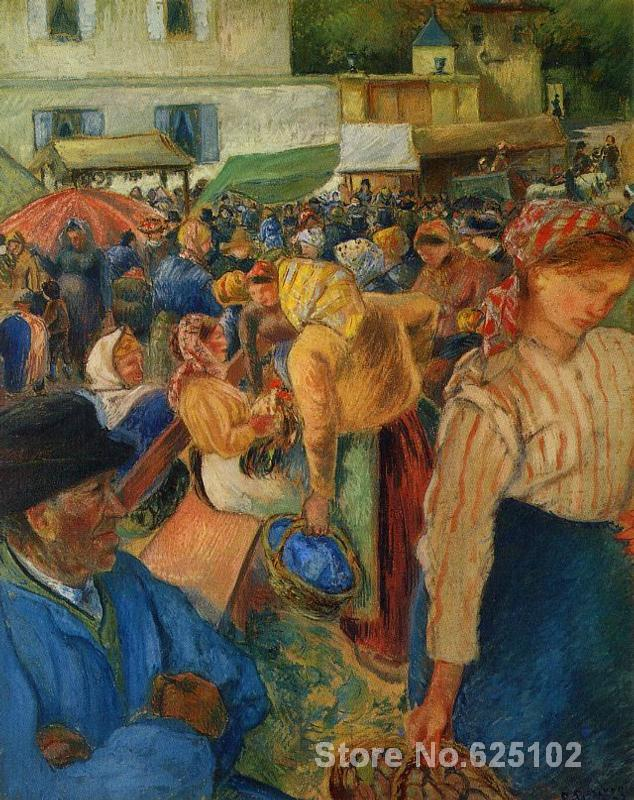 Poultry Market, Pontoise by Camille Pissarro paintings For sale,Home Decor,Hand-painted,High quality(China (Mainland))