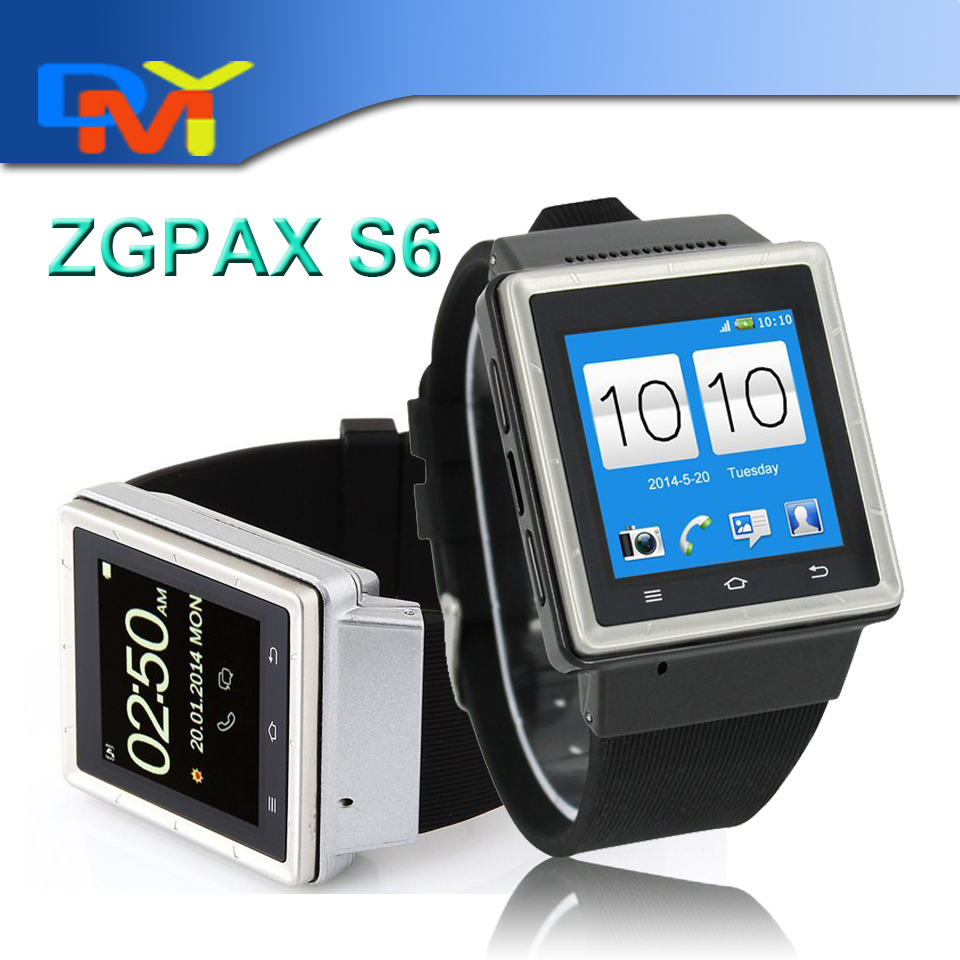 New Design!! ZGPAX S6 1.54 inch Android 4.04 Smart Watch Phone MTK6577 Dual Core 1.0GHz RAM 512MB ROM 4GB WCDMA &amp; GSM 3G Phone<br><br>Aliexpress